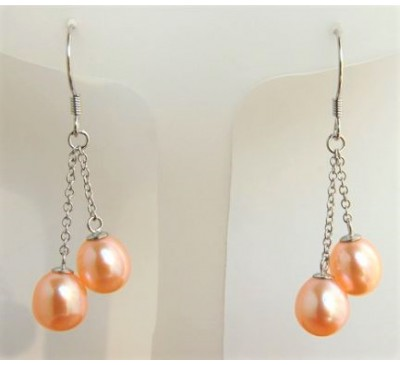 Double Pearl Sterling Earrings (2E352PK)