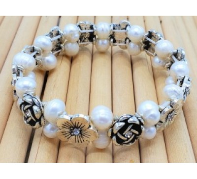 Rose Double Strand Pearl Bracelet (BA-800028)