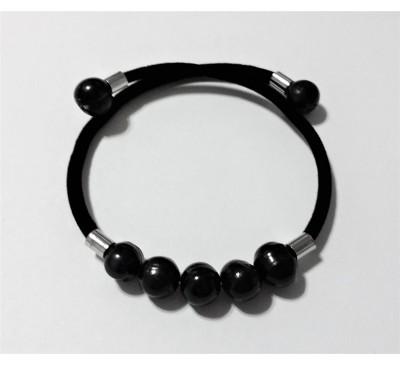 BOHO Memory Wire Pearl Bracelet - Black (BA-903483)