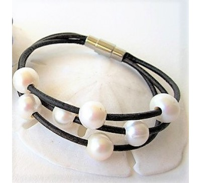 Leather Pearl Bracelet (BA-903502)