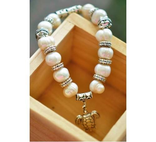 Turtle Charm Pearl Bracelet (BA-903507)