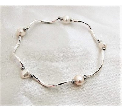 Pearl Stretchable Bracelet - White (BA-903518)