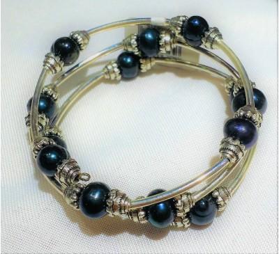 Triple Wrap Memory Wire Pearl Bracelet - Black (BA-906021)