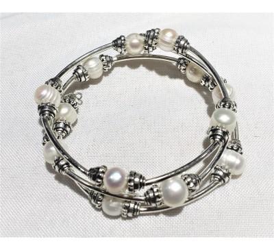 Triple Wrap Memory wire Pearl Bracelet - White (BA-906036)