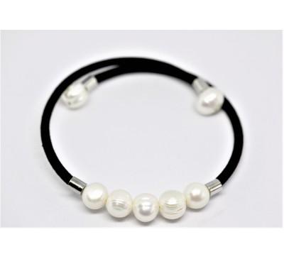 BOHO Memory Wire Pearl Bracelet - White (BC-0303)