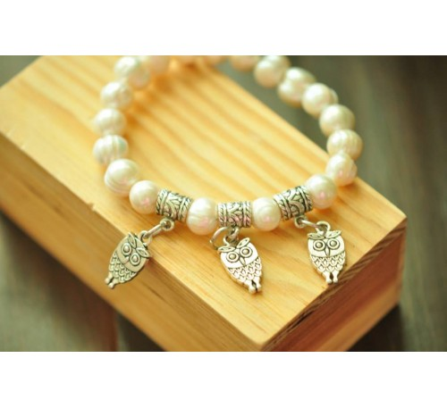 The Three Wise Ones - Owl Charm with Freshwater Pearl (BA-903506)