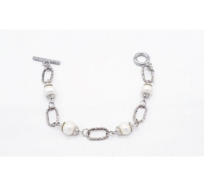 Authentic White Freshwater Cultured Pearl 8-9mm Silver Bracelet (BA-101837)