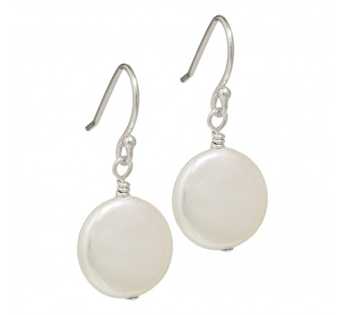 Coin Pearl Sterling Silver Earrings (EF002)