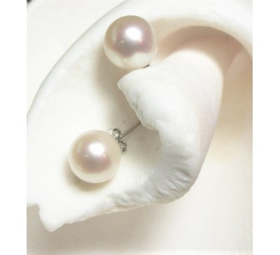 12-13 mm Pearl Sterling Silver Stud Earrings (ER-2510)