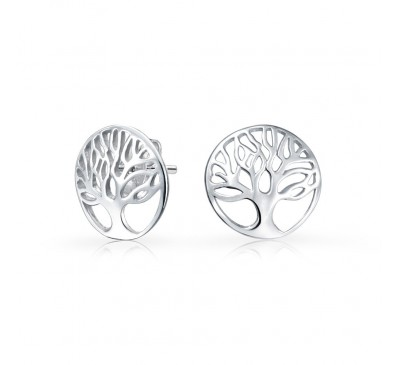Tree of Life Sterling Silver Stud Earrings  (ER-903398)