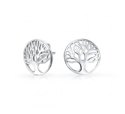 Tree of Life Sterling Silver Stud Earrings  (ER-903398)