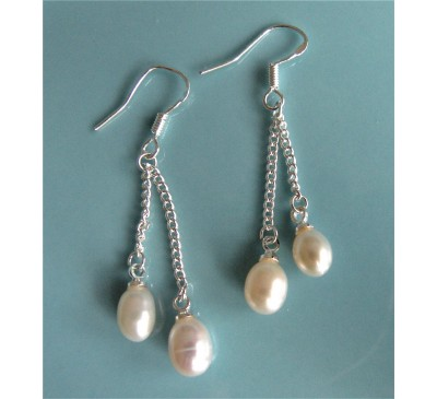 Double Pearl Sterling Earrings (ER-905079)