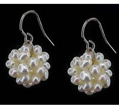 Cotton Ball Sterling Silver Earrings (ER-907031)