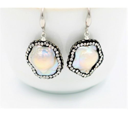 Baroque Pearl with Swarovski Earrings (ER-907506)