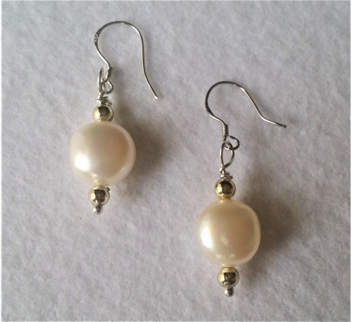 Baroque Pearl Earrings - White (ERM-1000-10)