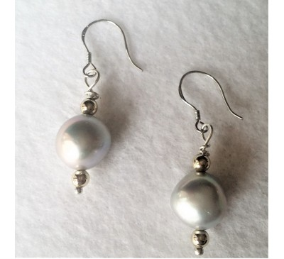 Baroque Pearl Earrings-Silver (ERM-1003-10)