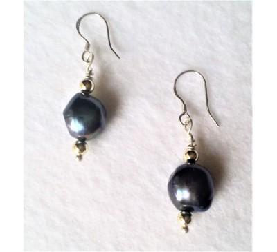 Baroque Pearl Earrings - Black (ERM-1002-10)