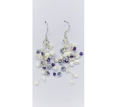 Galaxy Hook Earrings (ERM-800005) Amethyst Stones