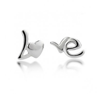Love Initial Sterling Stud Earrings (ES6500)