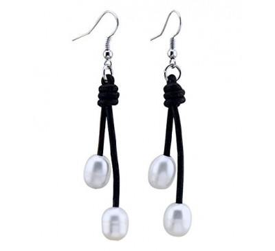 Leather Double Pearl Sterling Earrings (LE-903321)