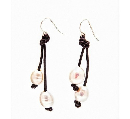 Leather Double Pearl Sterling Earrings  (LE-907043)