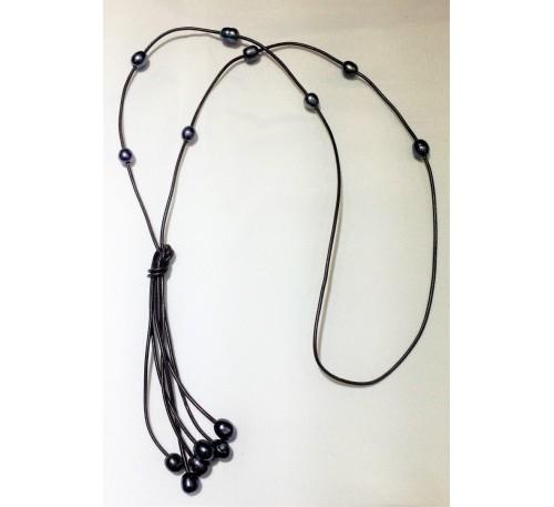 Bohemian Tassel Long Leather Necklace (LN-23577)