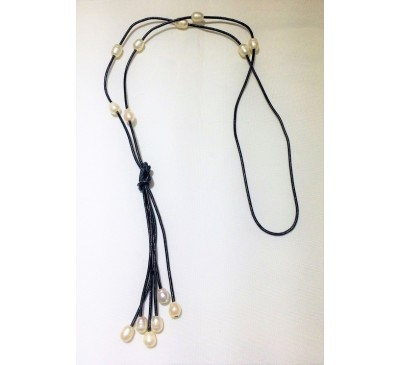 Bohemian Tassel Long Leather Necklace (LN-23578)