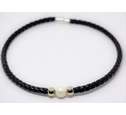 BOHO Single Pearl Choker Leather Necklace - Black (LN-903055)