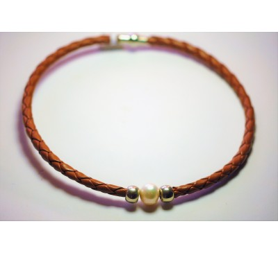 BOHO Single Pearl Choker Leather Necklace - Brown (LN-903056)