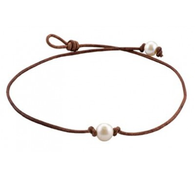 Organic Single Pearl Leather Necklace (LN-903530)