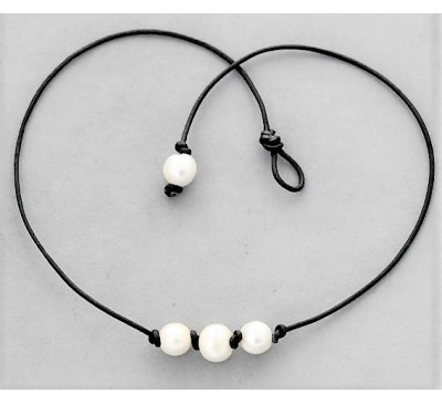 3 Pearls Leather Necklace - Black (LN-906027)