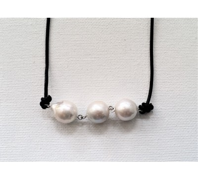 3 Baroque Pearls Leather Necklace - Black (LN-906029)
