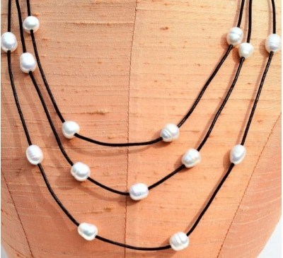 3 Strands Long Leather Pearl Necklace-Brown (LN-906028)