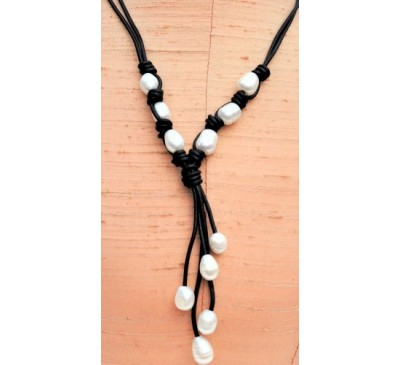 2 Strand Tassel Leather Pearl Necklace - Black (LN-907505)