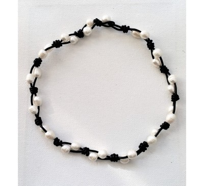 Braided Black Leather Pearl Necklace (LN-907501)