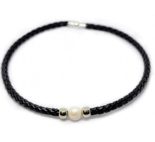 BOHO Single Pearl Choker Leather Necklace - Black (LN-903055)
