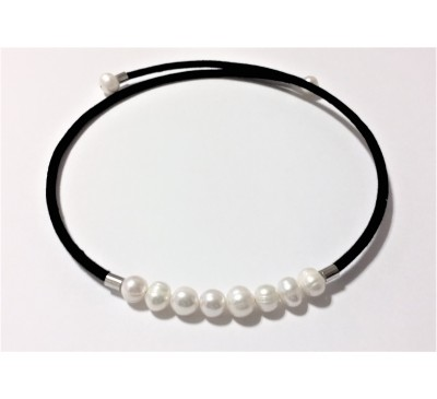 White Color Freshwater Pearl Choker Necklace (NL-0800-10)