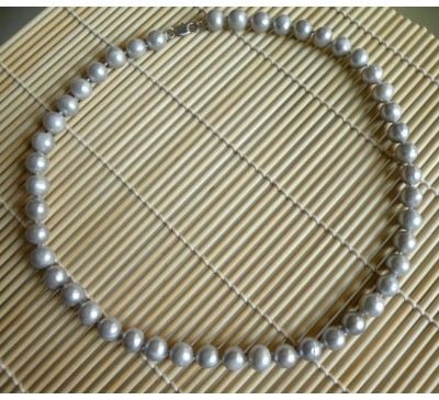 Royal Silver Grey Pearls Necklace (NL-2318-25)