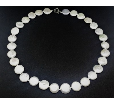 Full Moon Coin Pearls Necklace (NL-903005-101)