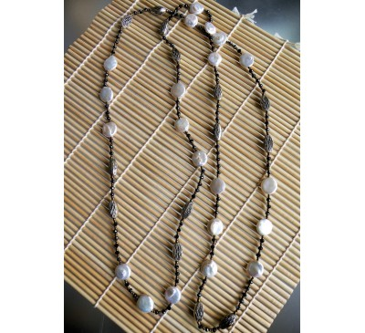 Opera Coin Pearl Necklace (NLM-2501-25)