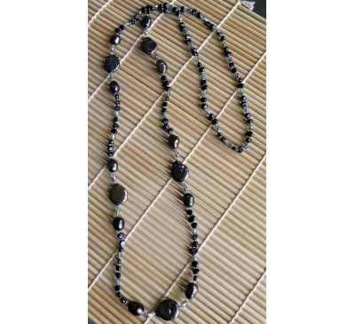 Opera Black Pearl Long Necklace (NLM-3005-30)