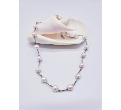9mm Silver Station Necklace  - White (PN-190801)