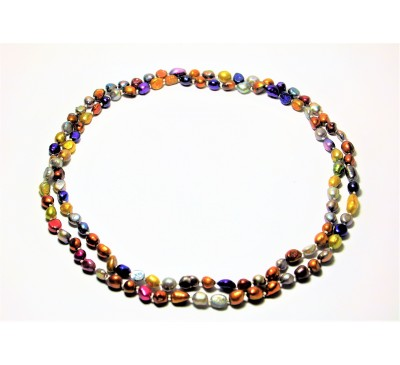 Multi Color Long Pearl Necklace (PN-903538)