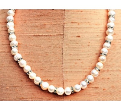 Pearl with Swarovski Bar Necklace (PN-906023)