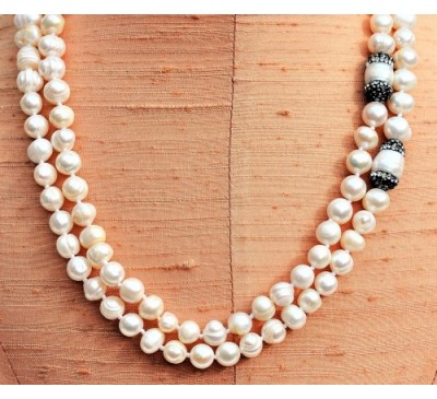 Double Strands with Swarovski Pearl Necklace (PN-906024)