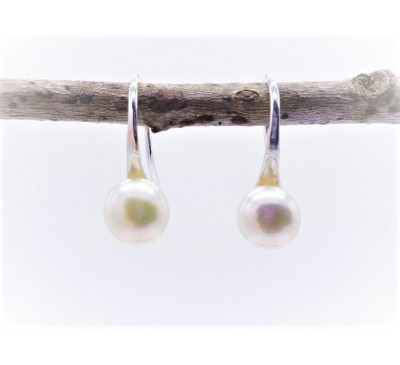 White Pearl Stainless Steel Hook Earrings (E408)