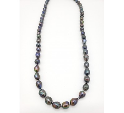 Classic Long Black Pearl Necklace (PN-190387)