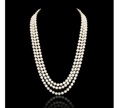 Classic 3 Strands Pearl Necklace (PN-800070)