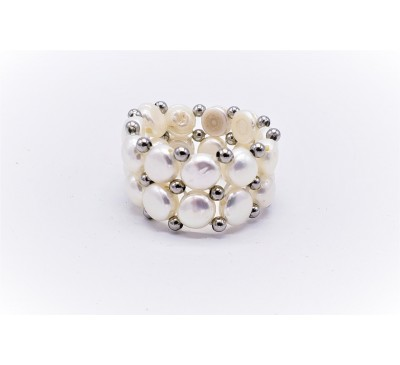 White Double Pearl Ring - White (PR-200708)