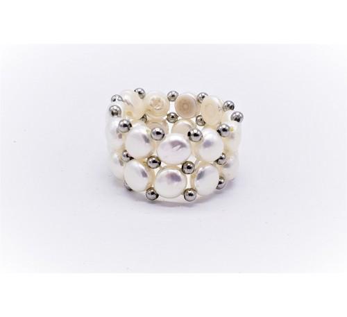 White Double Pearl Ring - White (PR-200708)